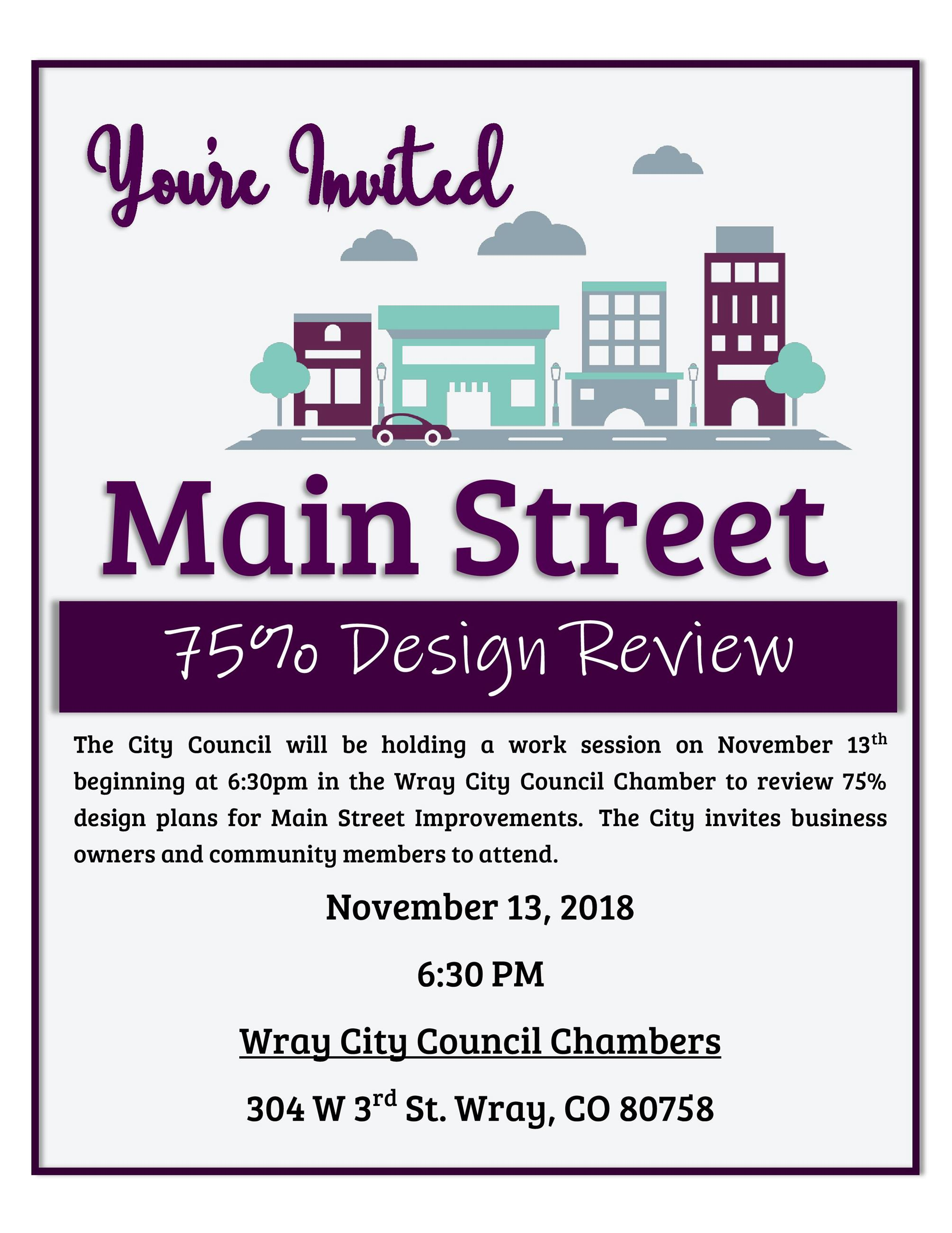 Main Street75% Design Review Invitation