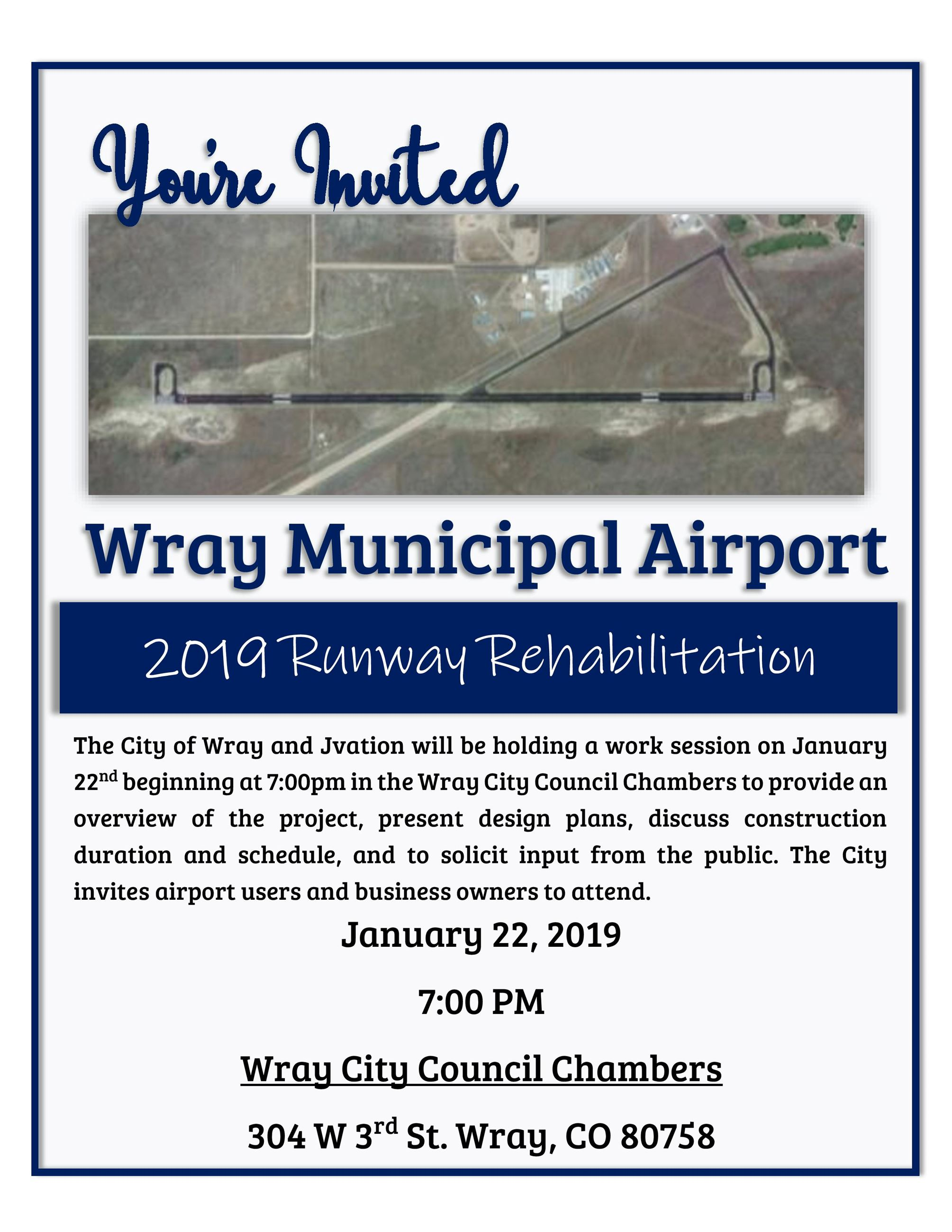 2019 Runway Rehabilitation Meeting Invite